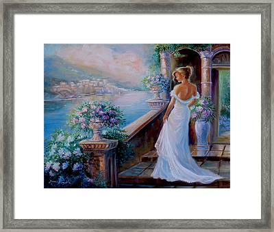 Lady In Blue Framed Print by Regina Femrite