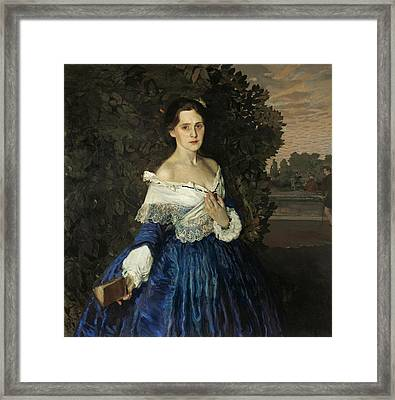 Lady In Blue. Portrait Of Ye.m. Martynova Framed Print