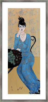 Lady In Blue Seated Framed Print