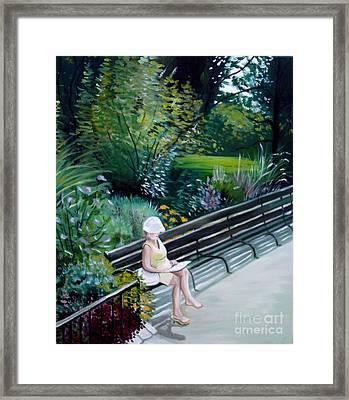 Lady In Central Park Framed Print by Elizabeth Robinette Tyndall