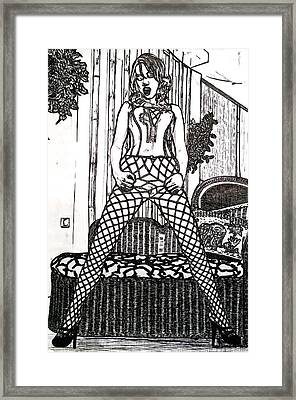 Lady In Fishnet Tights Framed Print