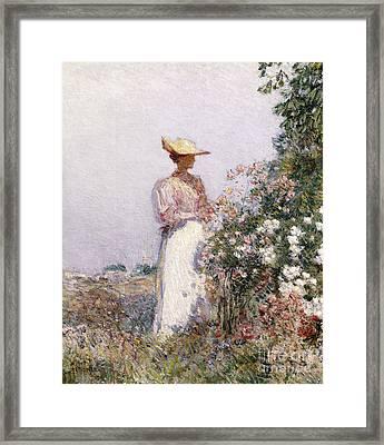 Lady In Flower Garden Framed Print