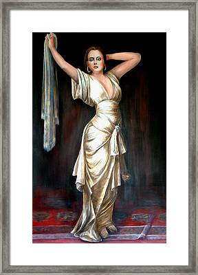 Lady In Gold Gown Framed Print