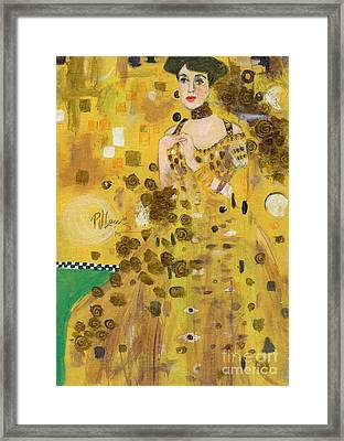 Lady In Gold Framed Print by P J Lewis