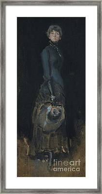 Lady In Gray Framed Print