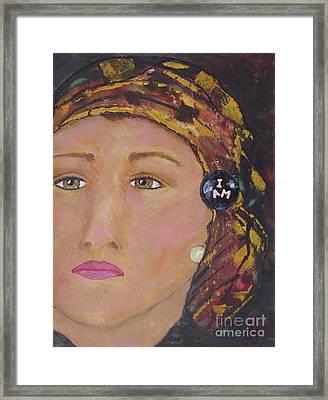 Lady In Head Scarf  Framed Print