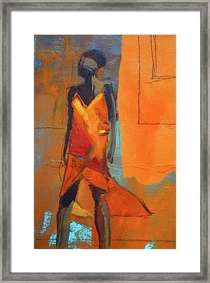 Framed Print featuring the painting Lady In Orange by Nancy Merkle