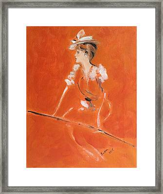 Lady In Orange Framed Print by Susan Adams
