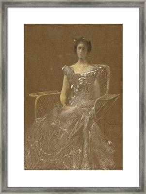Lady In Rattan Armchair Framed Print by Thomas Wilmer Dewing
