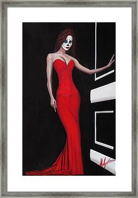 Lady In Red Framed Print by Aaron  Montoya