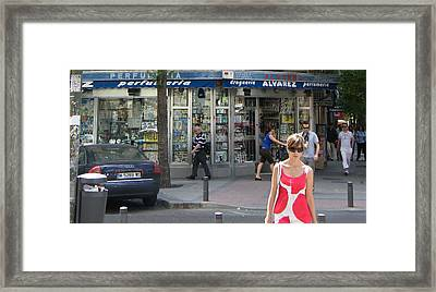 Lady In Red And White On Gaztambide Street - Madrid Framed Print by Thomas Bussmann