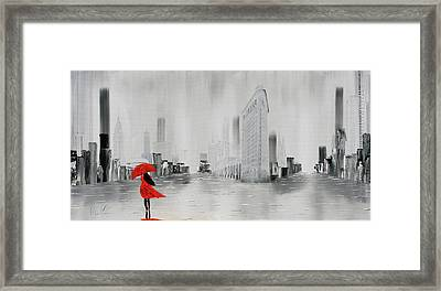 Lady In Red Dress And Red Umbrella Walking Alone Through A New Y Framed Print