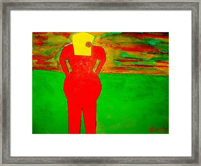 Lady In Red Looking At Sunset Framed Print