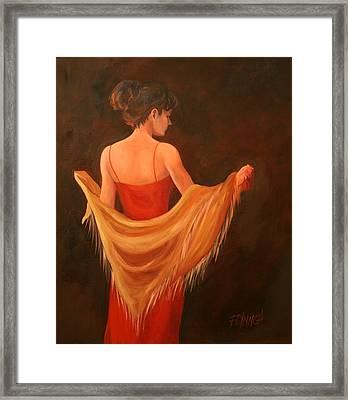 Lady In Red Framed Print by Lynn Chatman