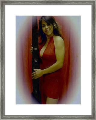 Lady In Red Framed Print by Maribel McIntosh