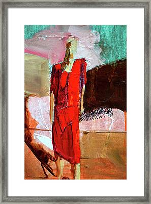 Framed Print featuring the painting Lady In Red by Nancy Merkle