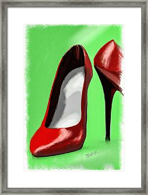 Lady In Red Shoes Framed Print by Mark Tonelli