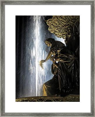 Lady In The Fountain Framed Print by Keith Allen