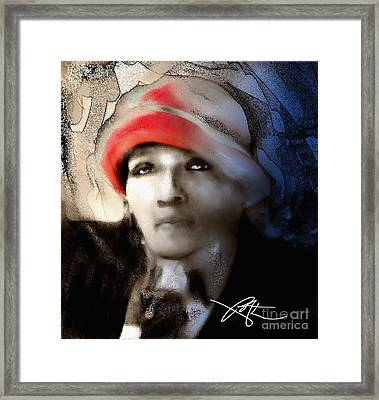 Lady In The Red Hat Framed Print by Bob Salo