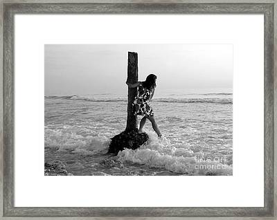 Lady In The Surf Framed Print by David Lee Thompson