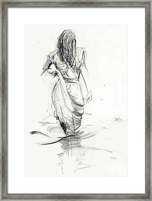 Framed Print featuring the drawing Lady In The Waters by Kerryn Madsen-Pietsch