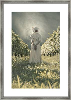 Lady In Vineyard Framed Print by Joana Kruse