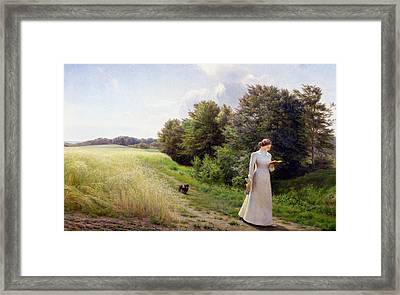 Lady In White Reading  Framed Print