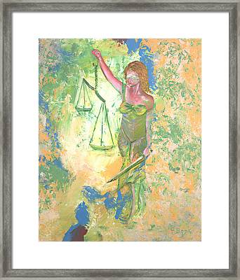 Lady Justice And The Man Framed Print by Peter Bonk