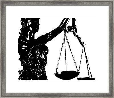 Lady Justice Poster Black White Framed Print by Flo Karp