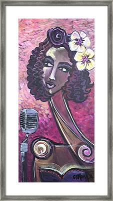 Framed Print featuring the painting Lady Lauren Midnight Singer by Laurie Maves ART