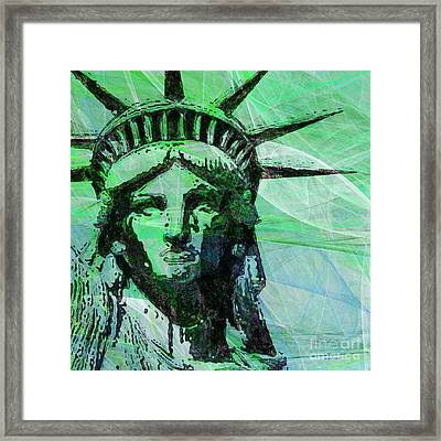 Lady Liberty Head 20150928 Square P100 Framed Print