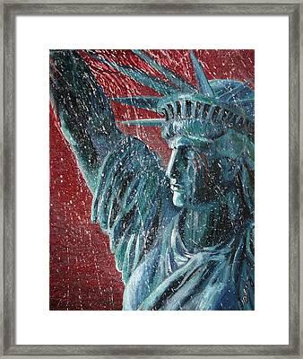 Lady Liberty In The Rain Framed Print by Alan Schwartz