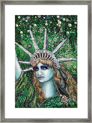 Lady Liberty Portrait. Jeweled Bead Embroidery Framed Print