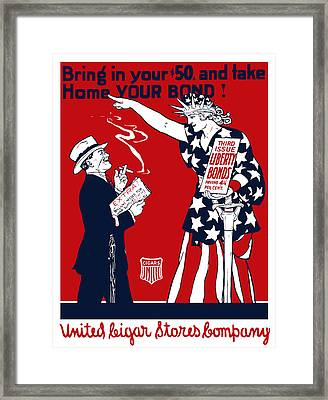 Lady Liberty War Bonds - Ww1 Framed Print