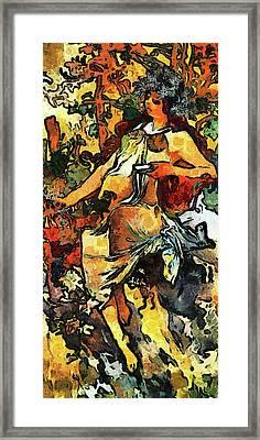 Lady Of Leisure Expressionism Van Gogh Style Framed Print by Georgiana Romanovna