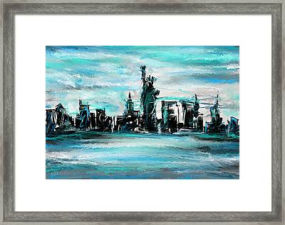Lady Of Liberty Turquoise Framed Print