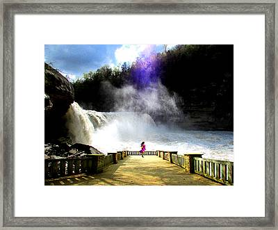 Lady Of The Falls Framed Print by Michael Rucker