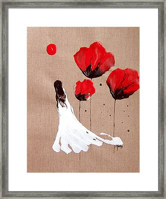 Lady Of The Poppies -contemporary Abstract Woman Red Flowers Fantasy Framed Print by Catherine Jeltes