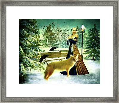 Lady Of Winter Framed Print by KaFra Art