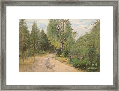 Lady On A Forest Path Framed Print by Celestial Images