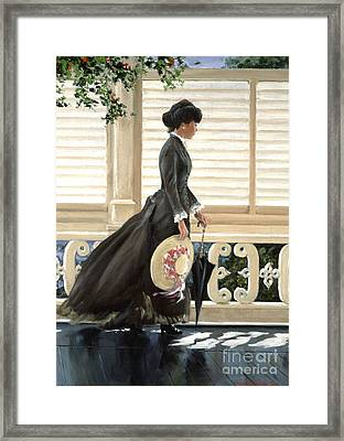 Lady On A Porch Framed Print by Michael Swanson