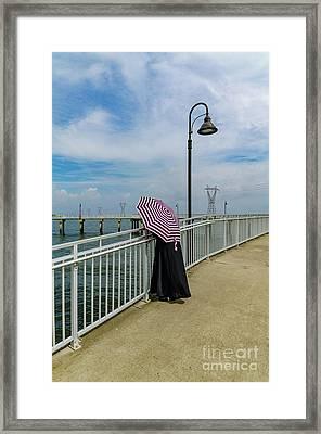 Lady On Pier - Color Version Framed Print by Kathleen K Parker