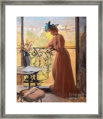 Lady On The Balcony Framed Print by Celestial Images