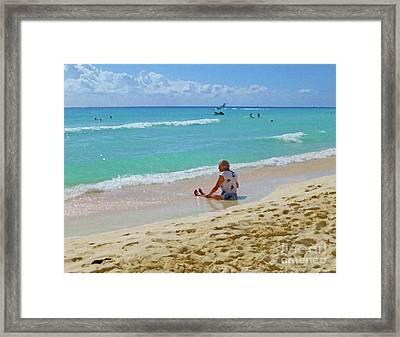 Framed Print featuring the digital art Lady On The Beach by Francesca Mackenney