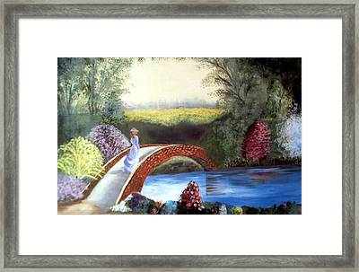 Lady On The Bridge Framed Print by Julie Lamons