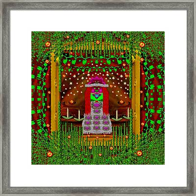 Lady Panda With Her Panda Bear Hat Goes Festive Framed Print by Pepita Selles