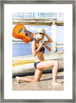 Lady Performer Bowing With Guitar Framed Print by Jorgo Photography - Wall Art Gallery