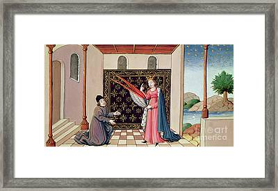 Lady Philosophy Offers To Boethius The Wings That Will Enable His Mind To Fly Aloft  Framed Print by French School