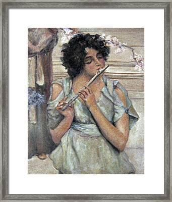 Lady Playing Flute Framed Print