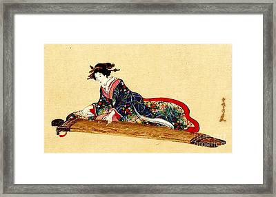 Lady Playing Koto 1878 Framed Print
